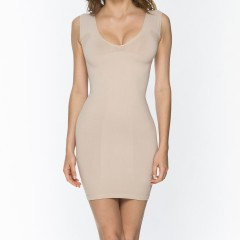9042 V-Neck Dress NUD Front